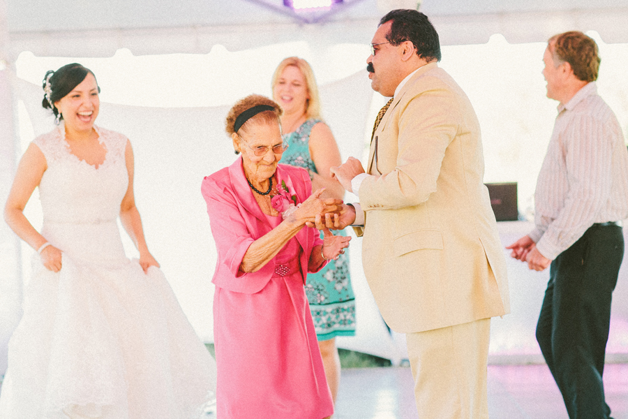 grandmother dancing at wedding